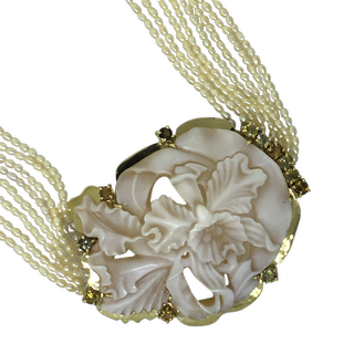 Cattleya dowiana orchid necklace