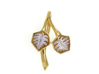 Split Leaf Cameo Brooch